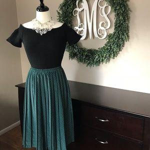 Green & White PolkaDot High Waisted Pleated Skirt